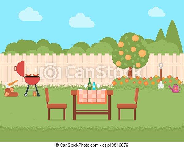 Gril Arriere Cour Jardin Maison Gril Jardin Maison Ete Vert