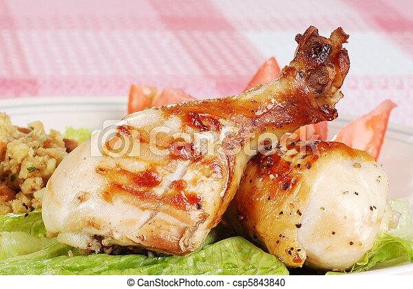grillé, baguettes, poulet, closeup - csp5843840