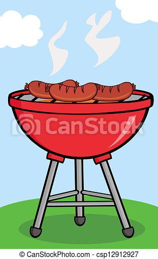 grillé, barbecue, saucisses - csp12912927