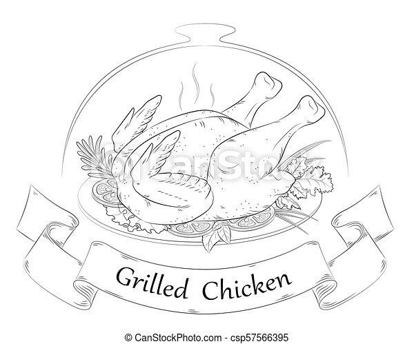 grillé, chicken., chaud, poulet - csp57566395