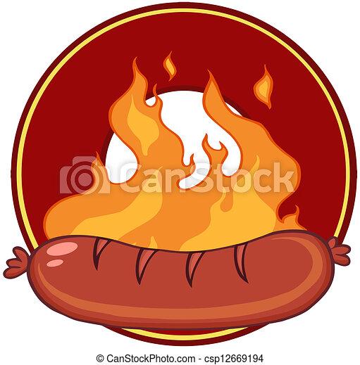 grillé, saucisse, flammes - csp12669194