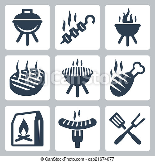 Grill and barbeque related vector icons set - csp21674077