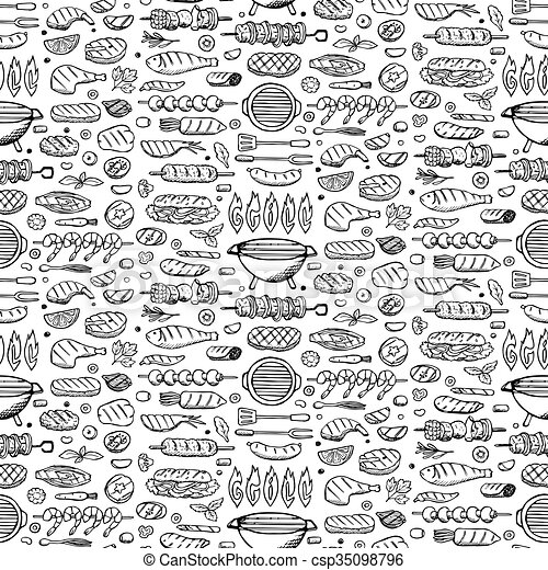 Grill-barbecue doodle set  - csp35098796