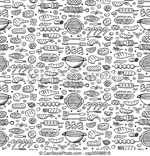 Grill-barbecue doodle set  - csp35098818