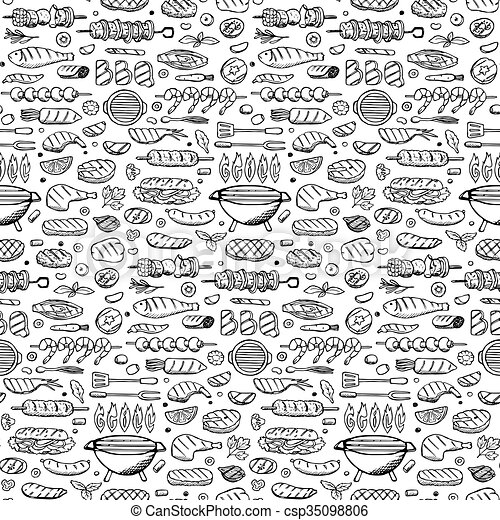 Grill-barbecue doodle set  - csp35098806