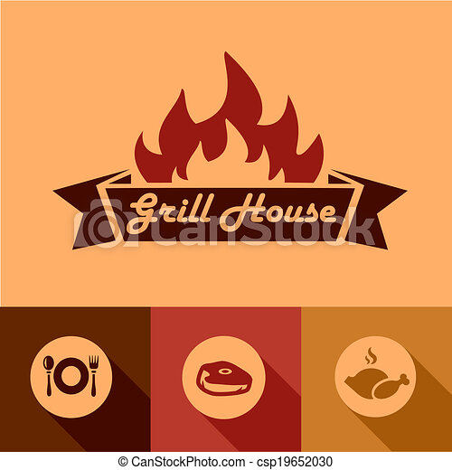 grill house design elements - csp19652030