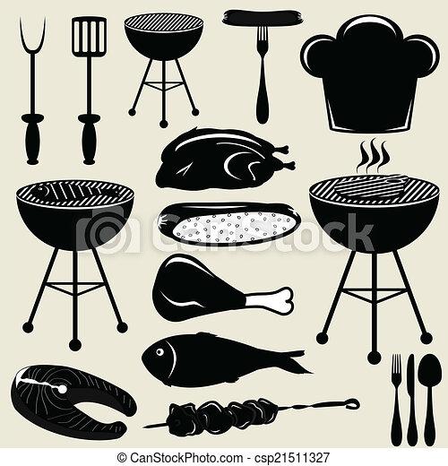 grill, ikonok, állhatatos, grillsütő - csp21511327