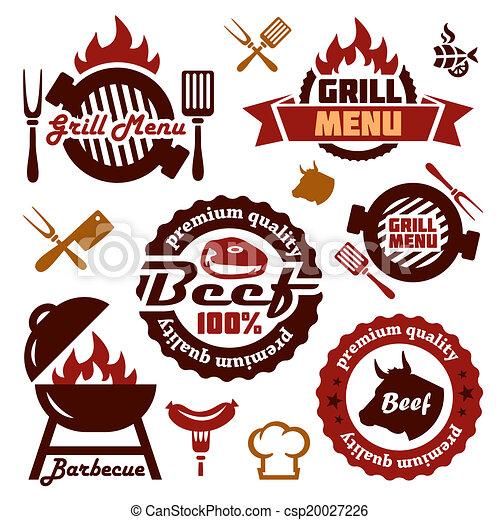 grill menu design elements set - csp20027226