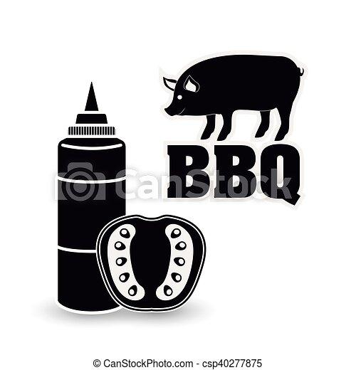 grill, ontwerp, bbq, menu - csp40277875