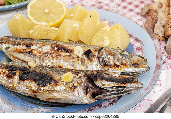 Grilled atlantic horse mackerel meal - csp62264295