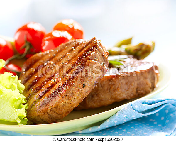 Grilled Beef Steak Meat over White - csp15362820