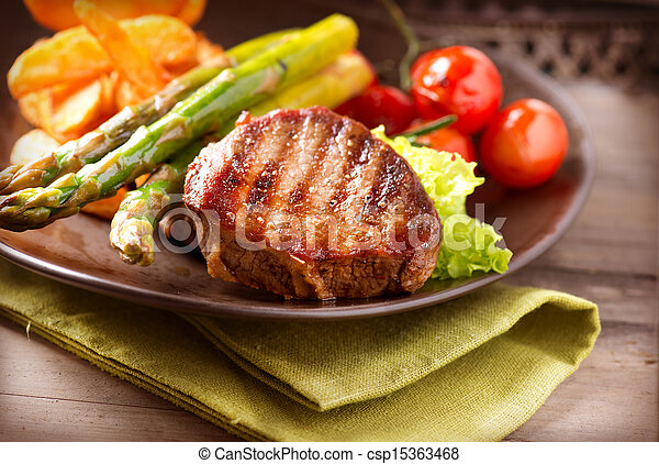 Grilled Beef Steak Meat with Vegetables  - csp15363468