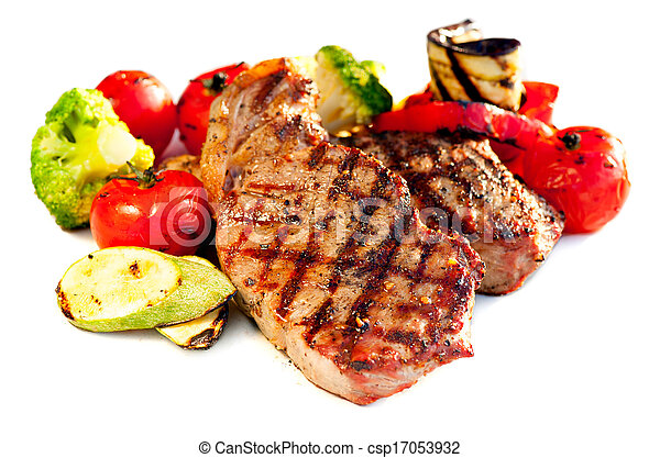 Grilled Beef Steak with Vegetables over White Background  - csp17053932