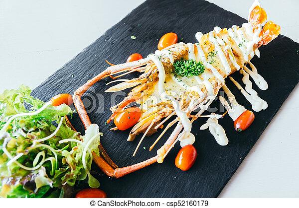 Grilled big prawn or shrimp with sauce - csp52160179