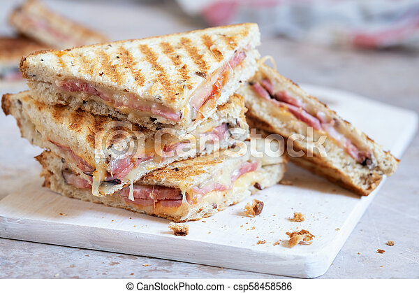 Grilled cheese sandwich with ham - csp58458586