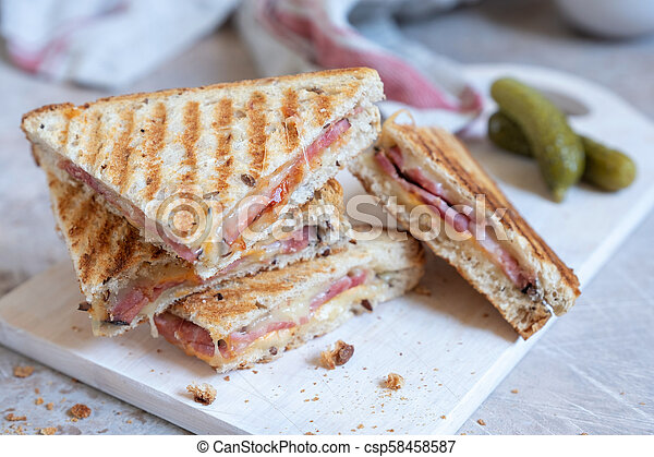 Grilled cheese sandwich with ham - csp58458587