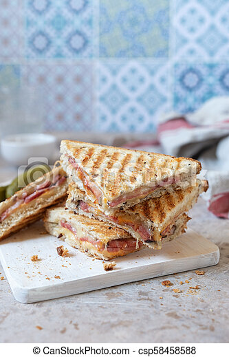 Grilled cheese sandwich with ham - csp58458588
