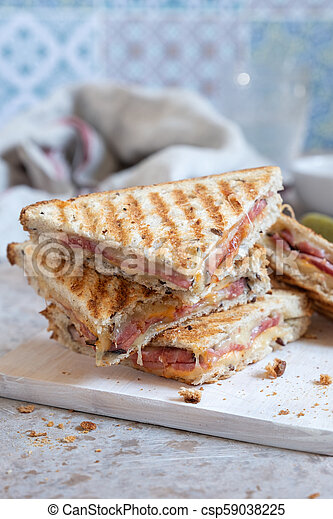 Grilled cheese sandwich with ham - csp59038225