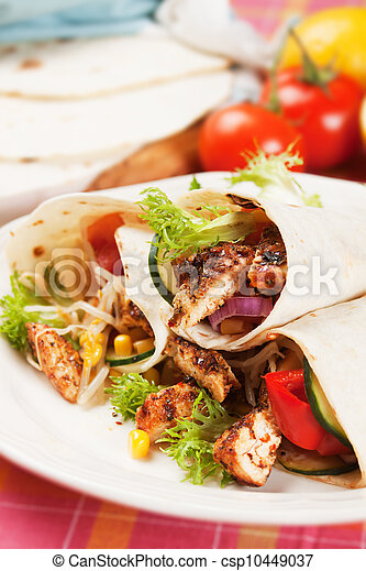 Grilled chicken and salad in tortilla wrap - csp10449037