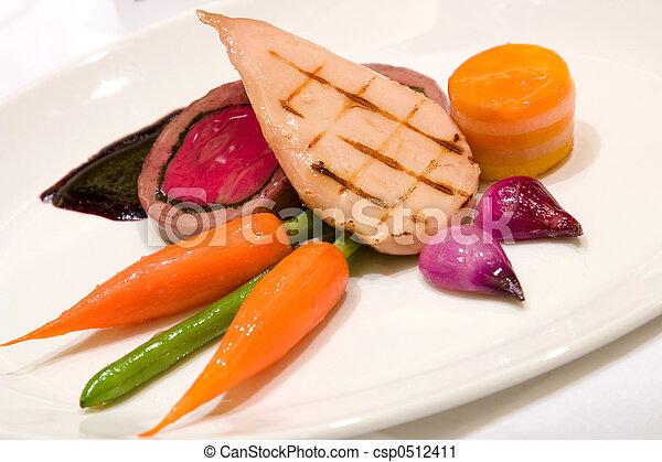 Grilled Chicken Breast with Veal Tenderloin Terrine - csp0512411