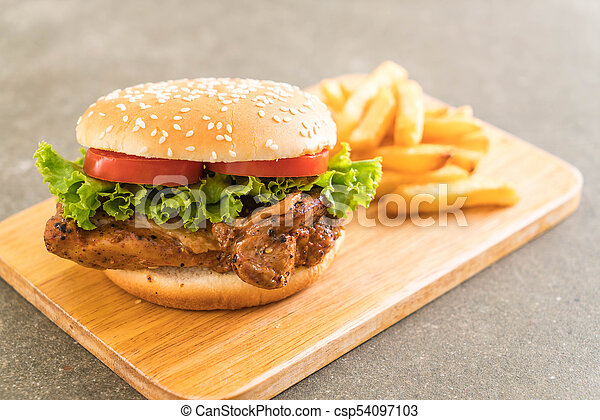 Grilled Chicken Burger With French Fries Unhealthy Food