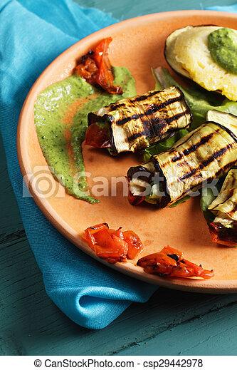 Grilled eggplants with pesto closeup - csp29442978