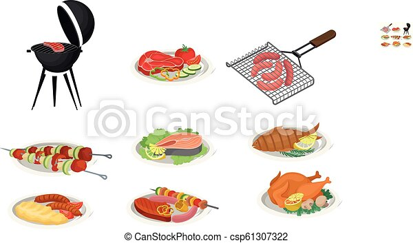 Grilled food set, delicious dishes for barbecue party menu, meat food vector Illustration on a white background - csp61307322