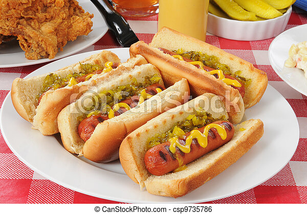 Grilled hot dogs - csp9735786