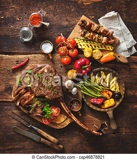 Grilled meat and vegetables - csp46878821