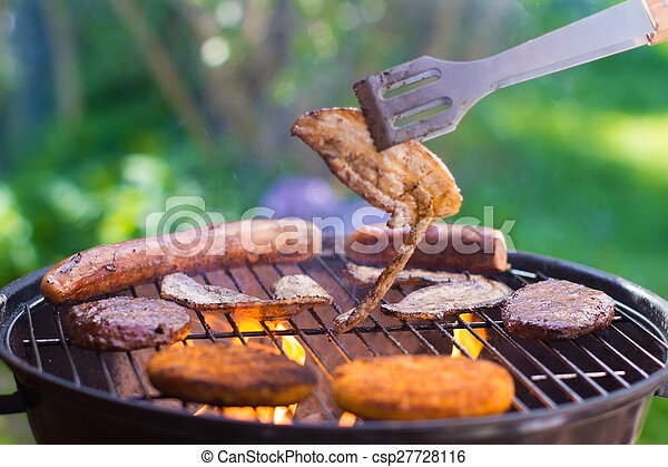 Grilled meat on bbq - csp27728116