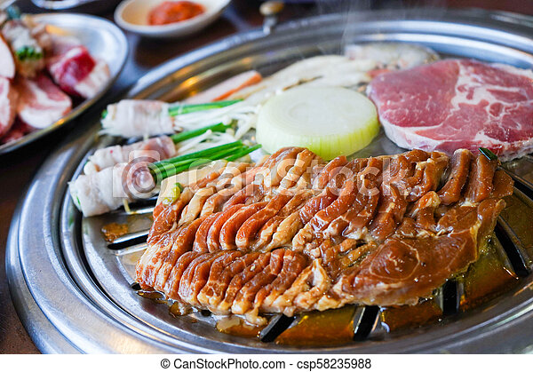 Grilled pork belly korean barbecue, yakiniku