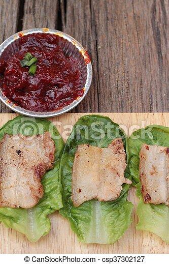 Grilled pork belly korean food is delicious  Grilled pork
