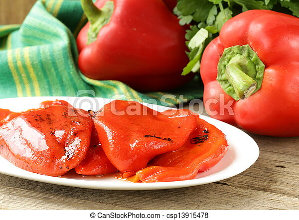 grilled red bell pepper on a plate - csp13915478