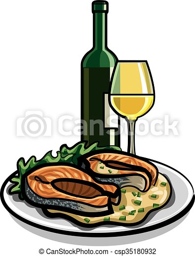 grilled salmon and wine - csp35180932