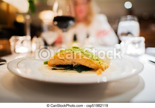 Grilled Salmon Dinner - csp51982119