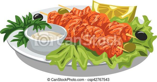 grilled salmon kebab - csp42767543