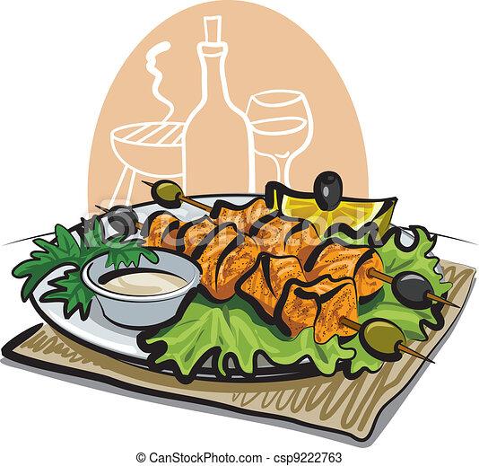 grilled salmon kebab - csp9222763