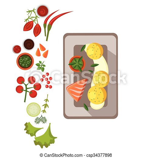 Grilled Salmon on Plate. Vector Illustration - csp34377898