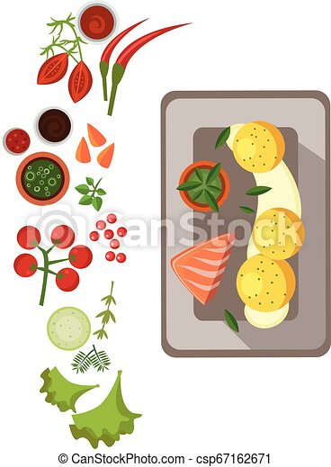 Grilled Salmon on Plate. Vector Illustration - csp67162671