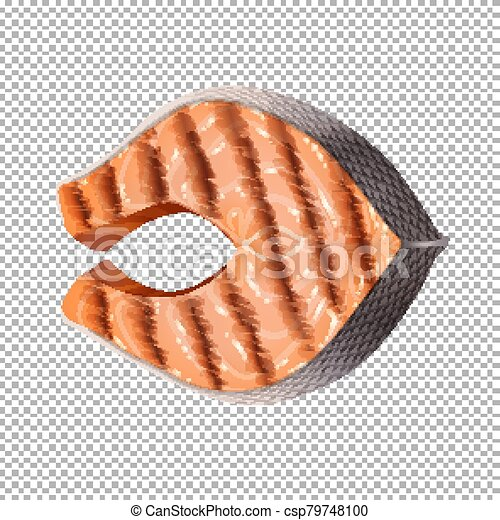 Grilled salmon on transparent background - csp79748100