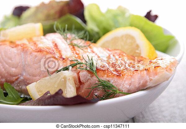 grilled salmon - csp11347111