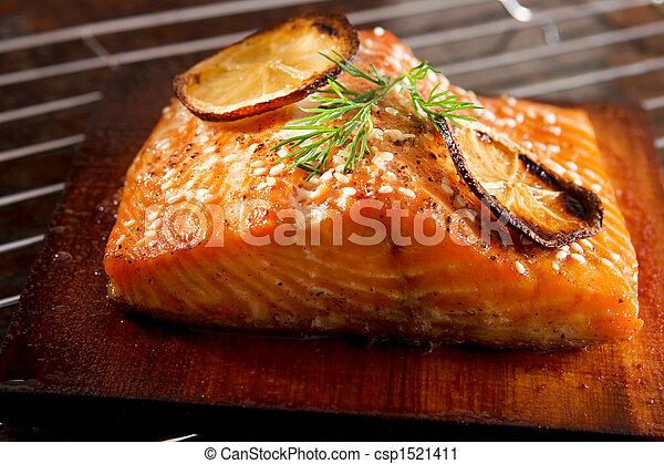 Grilled salmon - csp1521411