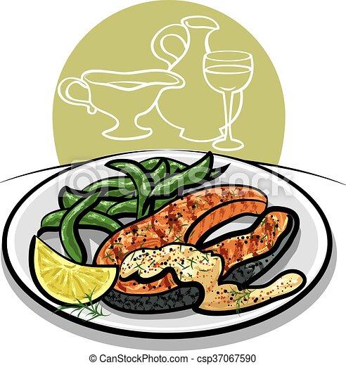 grilled salmon steak - csp37067590