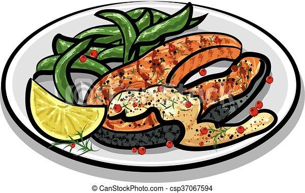 grilled salmon steak - csp37067594