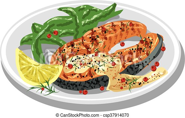 grilled salmon steak - csp37914070