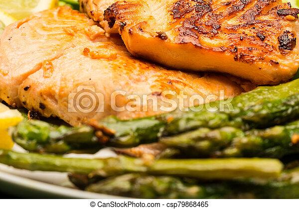 Grilled salmon - csp79868465