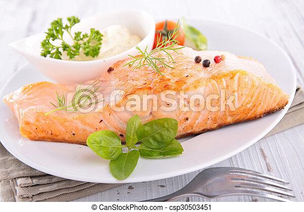 grilled salmon - csp30503451