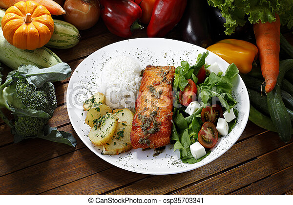 grilled salmon - csp35703341
