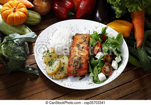 grilled salmon - csp35703341