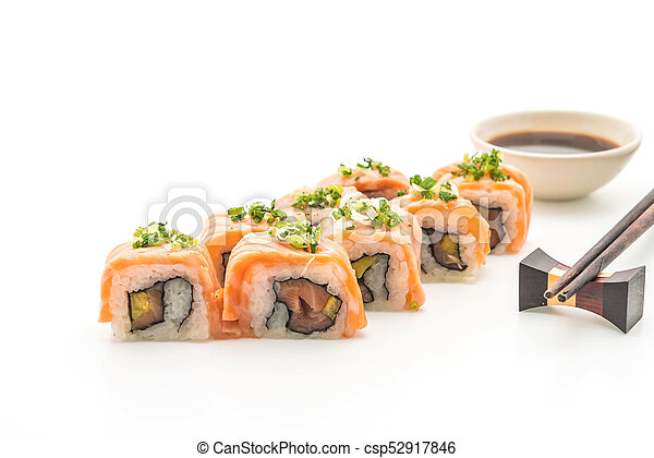 Grilled Salmon Sushi Roll Japanese Food Style On White Background Canstock